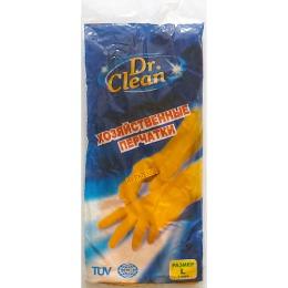 Dr.Clean хозяйственные перчатки резиновые, размер L, тон оранжевые, 1 пара