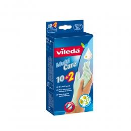 "Vileda перчатки ""Multi Care"" одноразовые, с бальзамом, размер M/L, 10 шт + 2 шт"