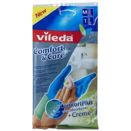 """Vileda перчатки """"Comfort & Care"""" для чувствительной кожи рук, размер M, 1 пара"""