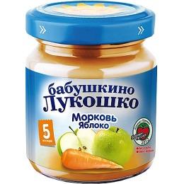 """Бабушкино Лукошко пюре """"Морковь и яблоко"""" с 5 месяцев, 200 г"""