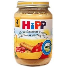 """Hipp пюре """"Яблоки с бананами и печеньем"""" с 6 месяцев, 190 г"""