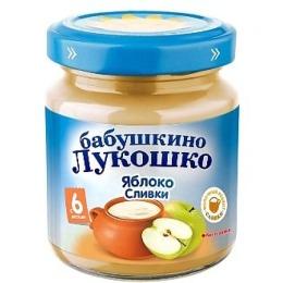 "Бабушкино Лукошко пюре ""Яблоко со сливками"" с 5 месяцев, 100 г"