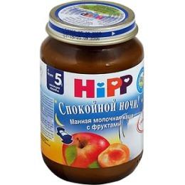 """Hipp пюре """"Спокойной Ночи. Манный десерт с фруктами"""" с 5 месяцев, 190 г"""