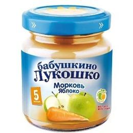 """Бабушкино Лукошко пюре """"Морковь и яблоки"""" с 5 месяцев, 100 г"""