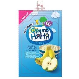 """Фруто Няня пюре """"Яблоко, банан, творог"""" с 6 месяцев, 90 г"""