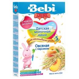 """Bebi Premium каша молочная """"Овсяная с персиком"""" с 5 месяцев, 250 г"""