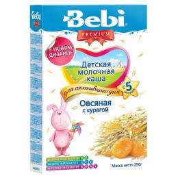 """Bebi Premium каша молочная """"Овсяная с курагой"""" с 5 месяцев, 250 г"""