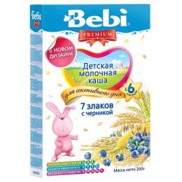 """Bebi Premium каша молочная """"7 злаков"""" с черникой, с 6 месяцев, 200 г"""