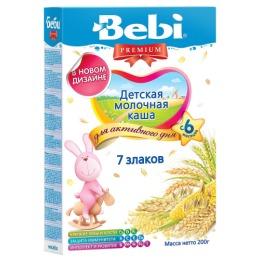 "Bebi Premium каша молочная ""7 злаков"" с 6 месяцев, 200 г"
