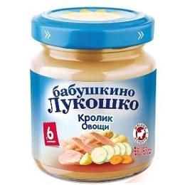 "Бабушкино Лукошко пюре ""Кролик с овощами"" с 6 месяцев, 100 г"