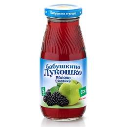 """Бабушкино Лукошко сок """"Яблочно-ежевичный"""" осветленный без сахара, с 5 месяцев, 200 г"""