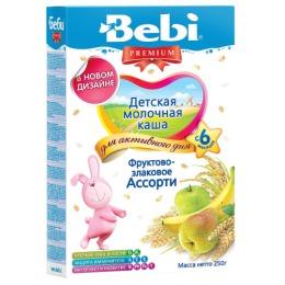 """Bebi Premium каша молочная """"Фруктово-злаковое ассорти"""" с 6 месяцев, 250 г"""