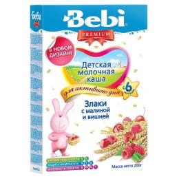 """Bebi Premium каша молочная """"Злаки с малиной и вишней"""" с 6 месяцев, 200 г"""