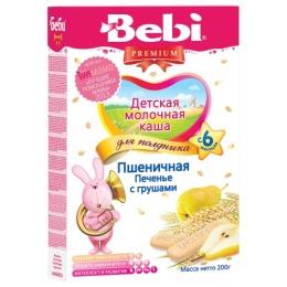 """Bebi Premium каша для полдника молочная пшеничная """"Печенье с грушей"""" с 6 месяцев, 200 г"""