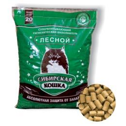 """Сибирская Кошка наполнитель для кошек """"Лесной"""" древесный, 20 л"""