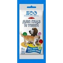 """C-Airlaid влажные салфетки """"ZOO"""" для животных для глаз и ушей, 15 шт"""
