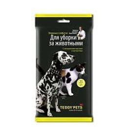 """Teddy pets влажные салфетки """"Для уборки за животными"""", 25 шт"""