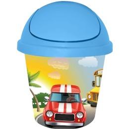 """Little Angel мусорная корзина """"City Cars"""" детская, круглая, цвет небесный, 7 л"""
