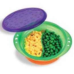 Munchkin тарелка детская двухсекционная на присоске с крышкой
