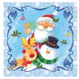 "Aster салфетки ""Creative. Дед Мороз с друзьями"" 3-слойные 25х25 см, 20 шт"