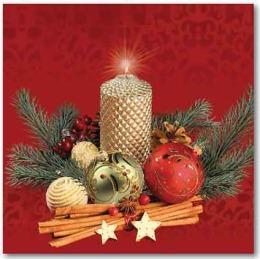 """Aster салфетки """"Creative. Новогодняя свеча"""" 3-слойные 25х25 см, 20 шт"""