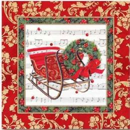 "Aster салфетки ""Creative. Рождественские сани"" 3-слойные 33х33 см, 20 шт"