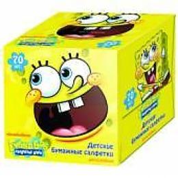 Губка Боб бумажные салфетки 2-х сл. в кубе, 70 шт