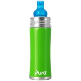 Pura бутылочка стальная со спаутом зеленая, 325 мл