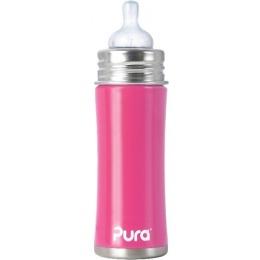 Pura бутылочка стальная розовая