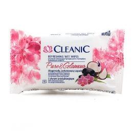 """Cleanic салфетки освежающие увлажняющие для рук и тела  """"PureGlamour"""" с энергетическим эффектом дисплей, 15 шт"""