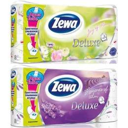 """Zewa туалетная бумага """"Делюкс. Цветы"""" 3 слойная, в ассортименте, 8 шт"""