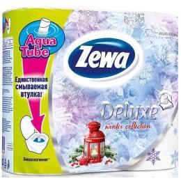 "Zewa туалетная бумага ""Делюкс. Зимняя коллекция"" 3 слойная, белая, 4 шт"