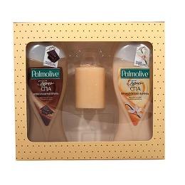 """Palmolive подарочный набор """"Гурмэ СПА"""". Крем-гель для душа """"Шоколадная Вуаль"""" 250 мл + крем-гель для душа """"Французская Ваниль"""" 250 мл + ароматическая свеча"""