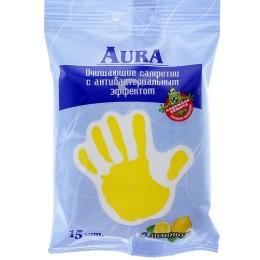 Aura салфетки влажные очищающие антибактериальные с лимоном