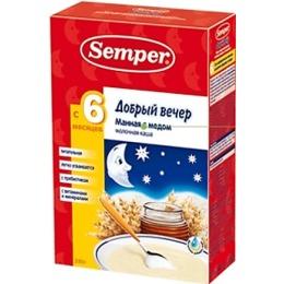 """Semper каша молочная """"Добрый вечер. Манная с мёдом"""", 225 г"""