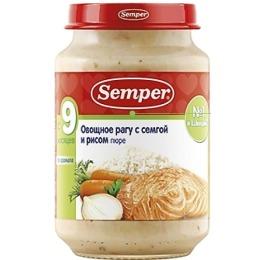 """Semper пюре """"Овощное рагу с сёмгой и рисом"""", 190 г"""