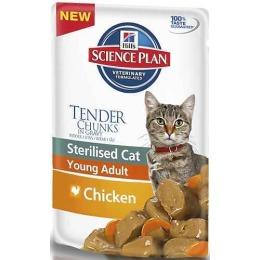 """Hill's корм для стерилизованных кошек """"Science plan"""" с курицей, пауч, от 6 месяцев до 6 лет, 85 г"""