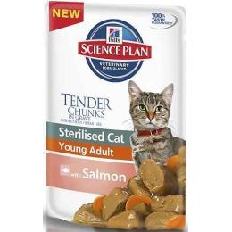 """Hill's корм для стерилизованных кошек """"Science plan"""" с лососем, пауч, от 6 месяцев до 6 лет, 85 г"""