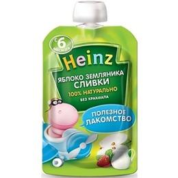 """Heinz пюре """"Яблоко, земляника, сливки"""" пауч, 90 г"""