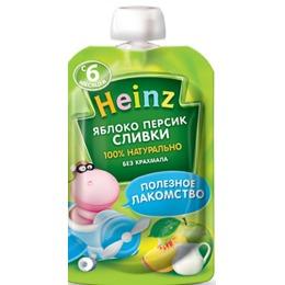 """Heinz пюре """"Яблоко, персик, сливки"""" пауч, 90 г"""