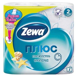"""Zewa туалетная бумага """"Плюс"""" 2 слойная с ароматом океанической свежести, 4 шт"""