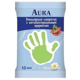 Aura салфетки влажные антибактериальные с ромашкой