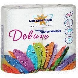"Мягкий знак бумажное полотенце ""Deluxe""с рисунком,2-х слойное, 2 рулона"