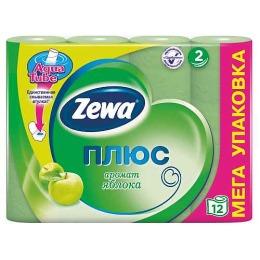 """Zewa туалетная бумага """"Плюс"""" 2 слойная с ароматом яблока, 12 шт"""