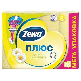 "Zewa туалетная бумага ""Плюс"" 2 слойная с ароматом ромашки, 12 шт"