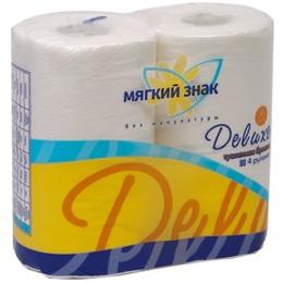 """Мягкий знак туалетная бумага """"Deluxe"""" с тиснением, с перфорацией, 2-х слойная, 4 рулона, желтый"""