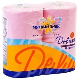 """Мягкий знак туалетная бумага """"Deluxe"""" с тиснением, с перфорацией, 2-х слойная, 4 рулона, розовый"""