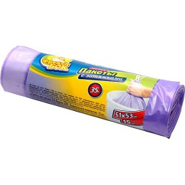 Фрекен Бок мешки для мусора Стандарт 35 л с затяжкой, фиолетовые, 15 шт