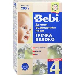 "Bebi каша безмолочная ""Греча. Яблоко"" с 4 месяцев"