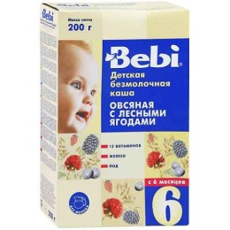 "Bebi каша безмолочная ""Овсянка. Лесная ягода"" с 6 месяцев"